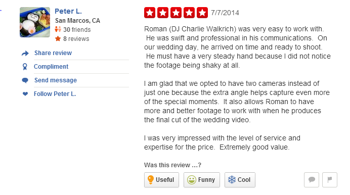 Affordable Wedding Videographer San Diego Reviews